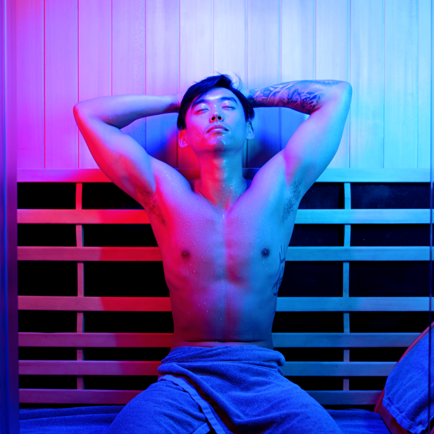 YJ relaxing in an infrared sauna