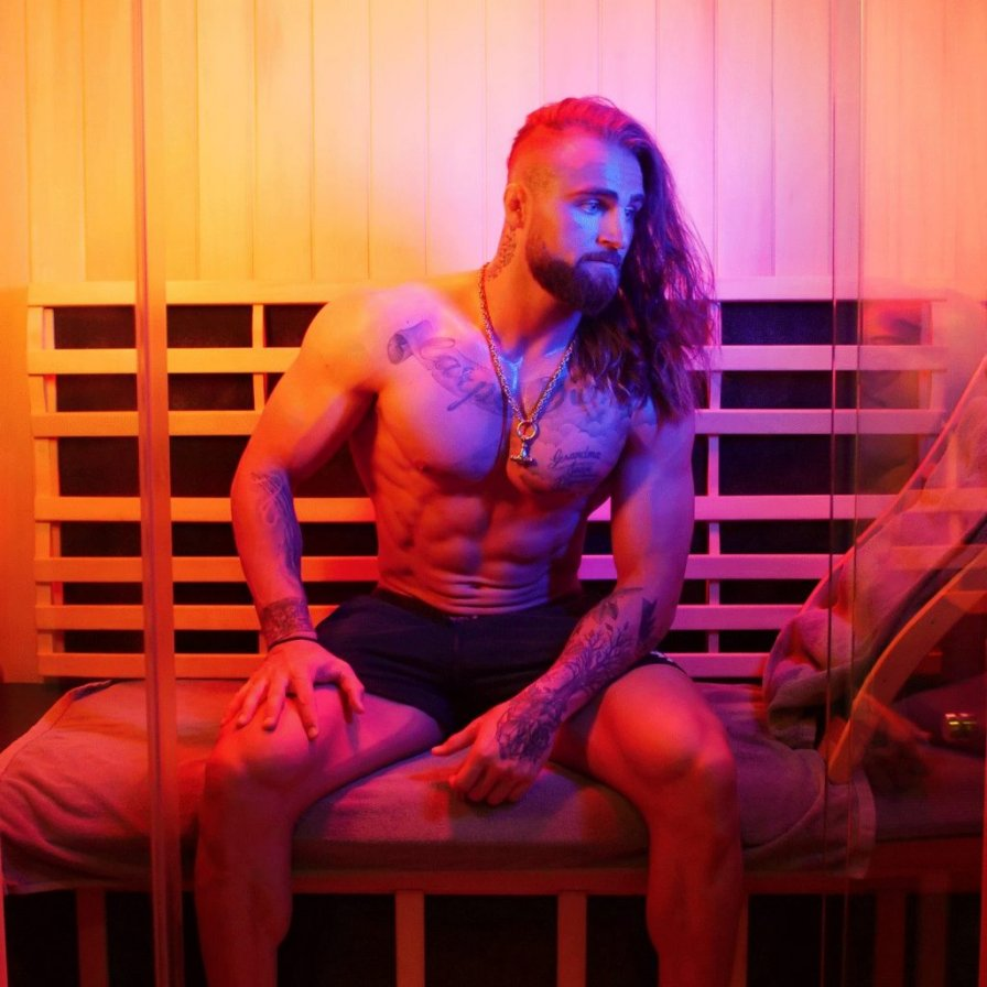 Ross sitting in an infrared sauna